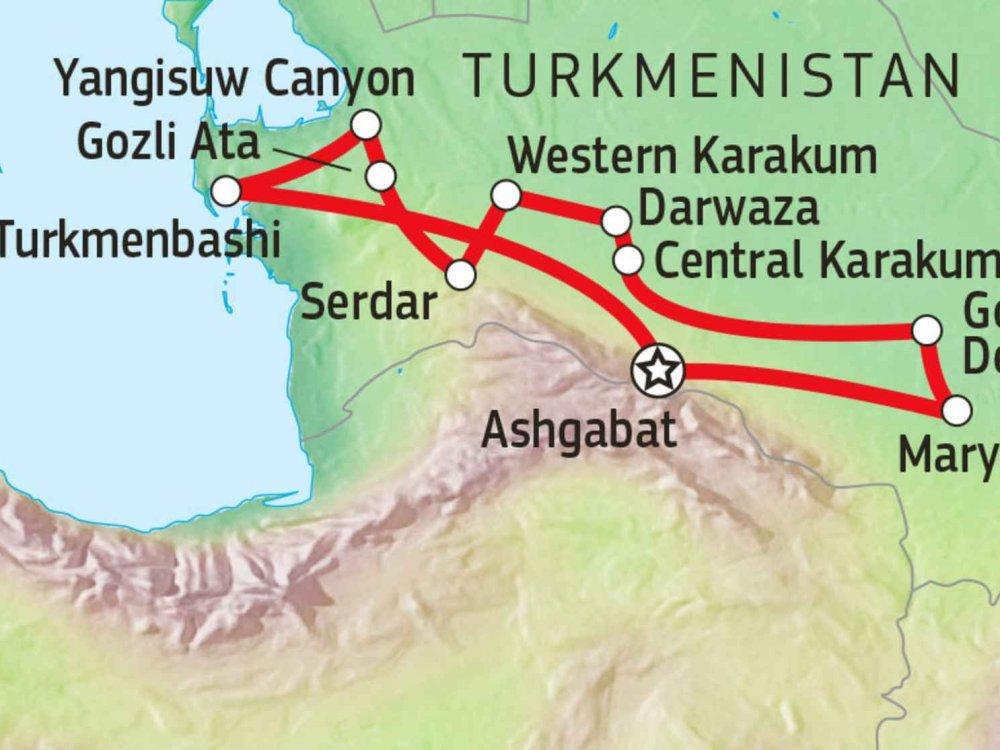 178Y60010 Jeep-Abenteuer zum Ewigen Feuer in Turkmenistan Karte