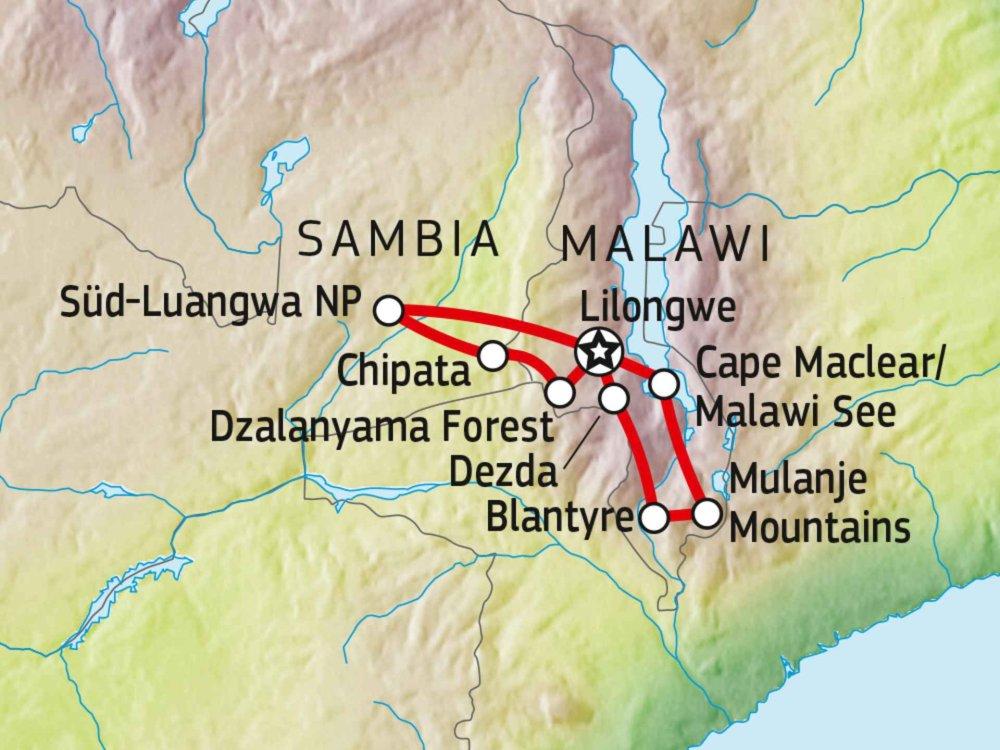 120Y10010 Malawi & Sambia Entdeckertour Karte