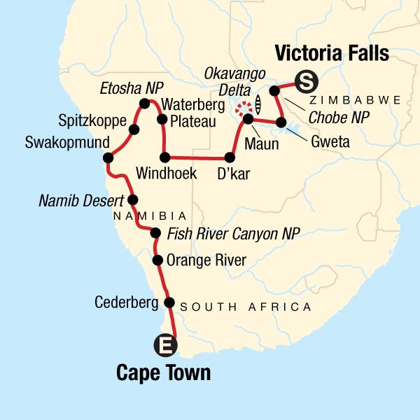 Canyons, Dünen & Wasserfälle Karte