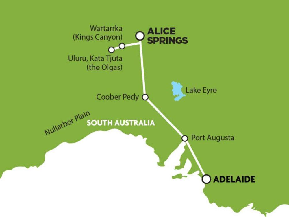 102A10052 Outback Adventure - Von Alice Springs nach Adelaide Karte
