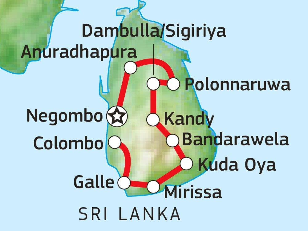 Erlebnis-Rundreise durch Sri Lanka Karte