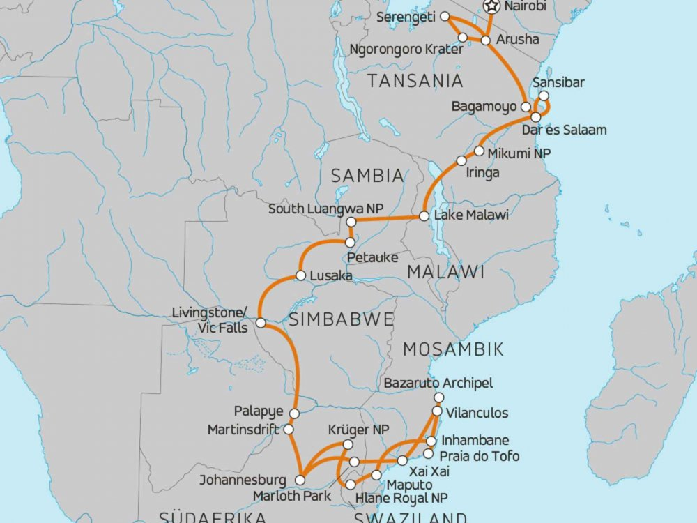 138Y11099 Naturparadiese Ostafrika & Mosambik Karte