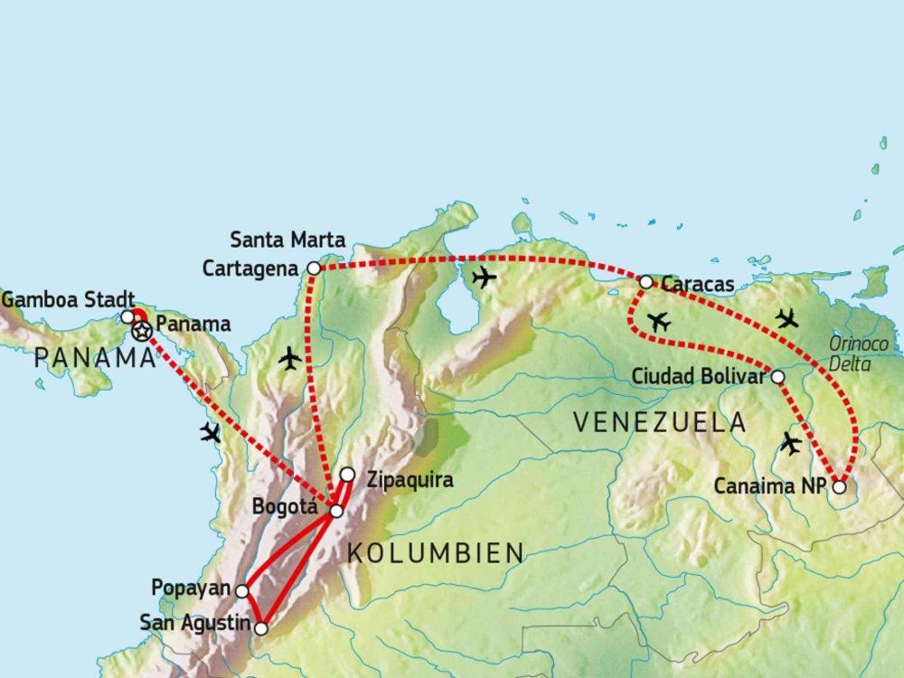 197Y10070 Zwischen Karibik, Mittel- und Südamerika Karte