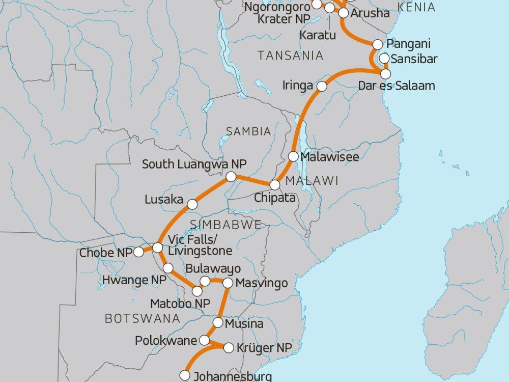 Afrika Abenteuerreise von Nairobi nach Johannesburg Karte