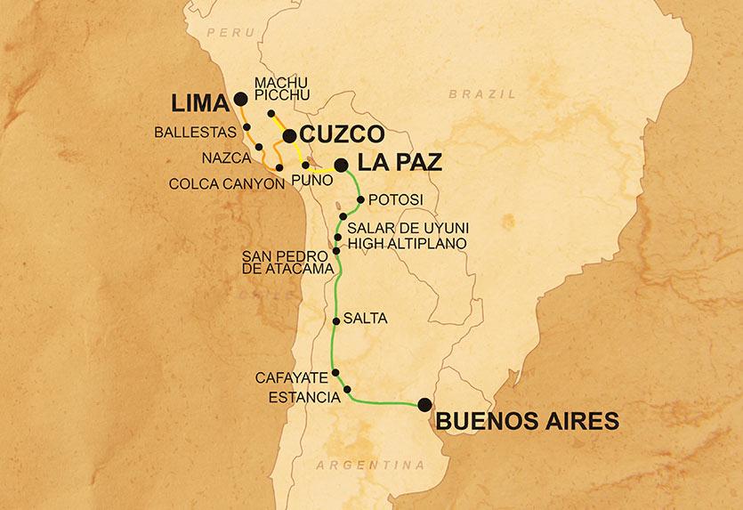 Erlebnis Lima nach Buenos Aires Karte