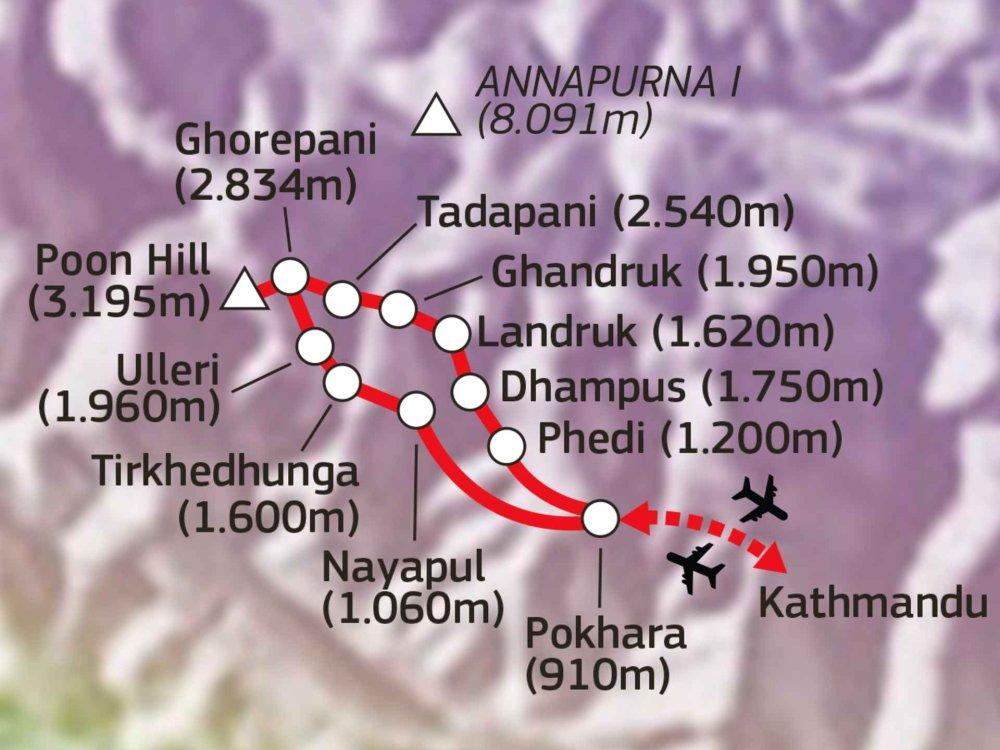 161Y30060 Ghorepani & Poon Hill Trek Karte