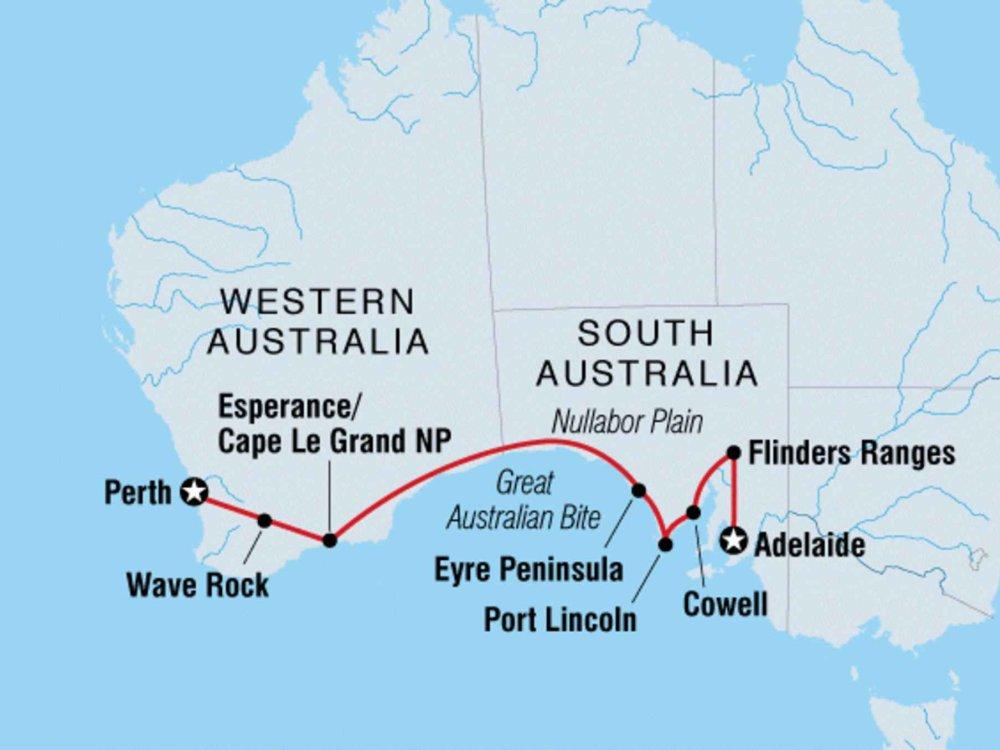 104Y20037 Von Perth nach Adelaide Karte