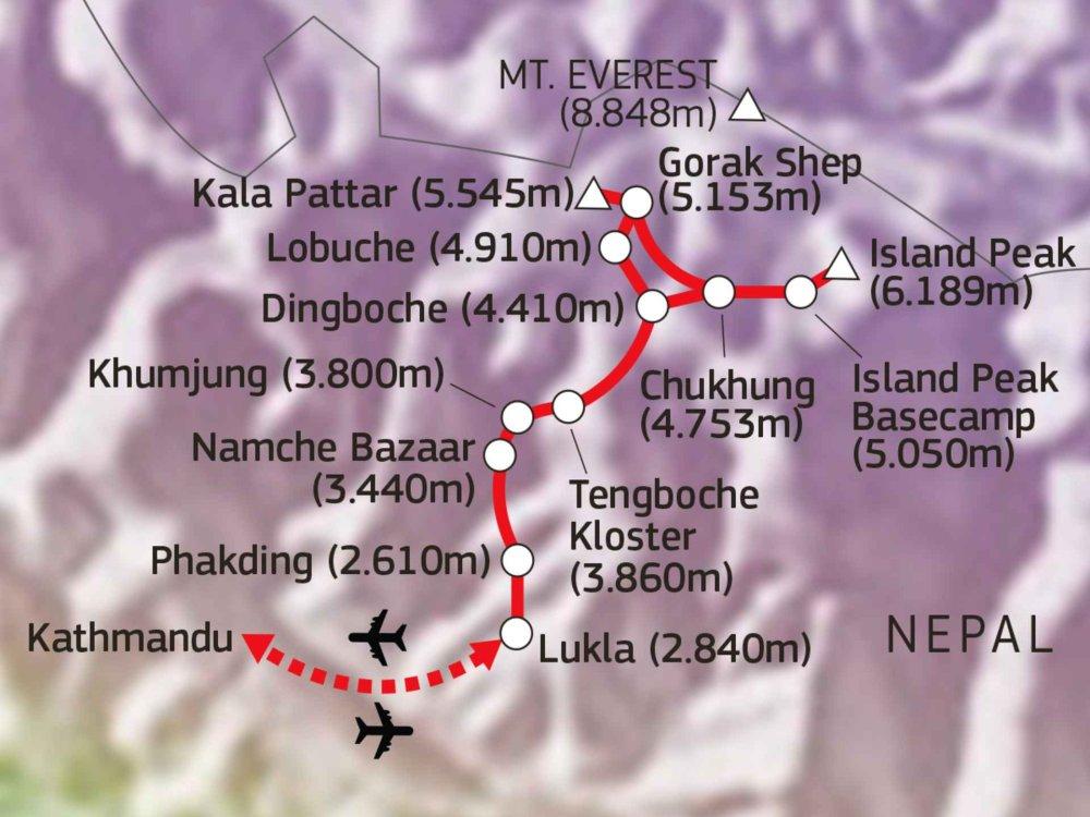 161Y00001 Island Peak Besteigung (6.189 m) Karte