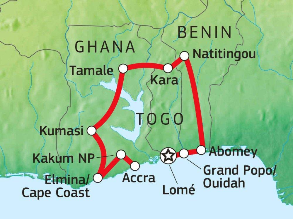 Ghana Togo Benin Karte