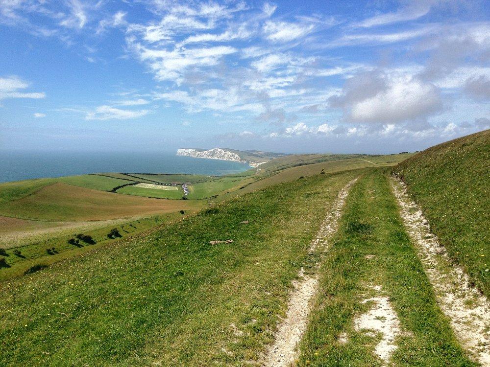Blick auf die Kreidehügel auf der Isle of Wight