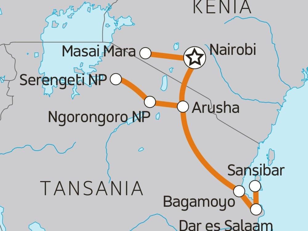 Kenya Tanzania Adventure Karte