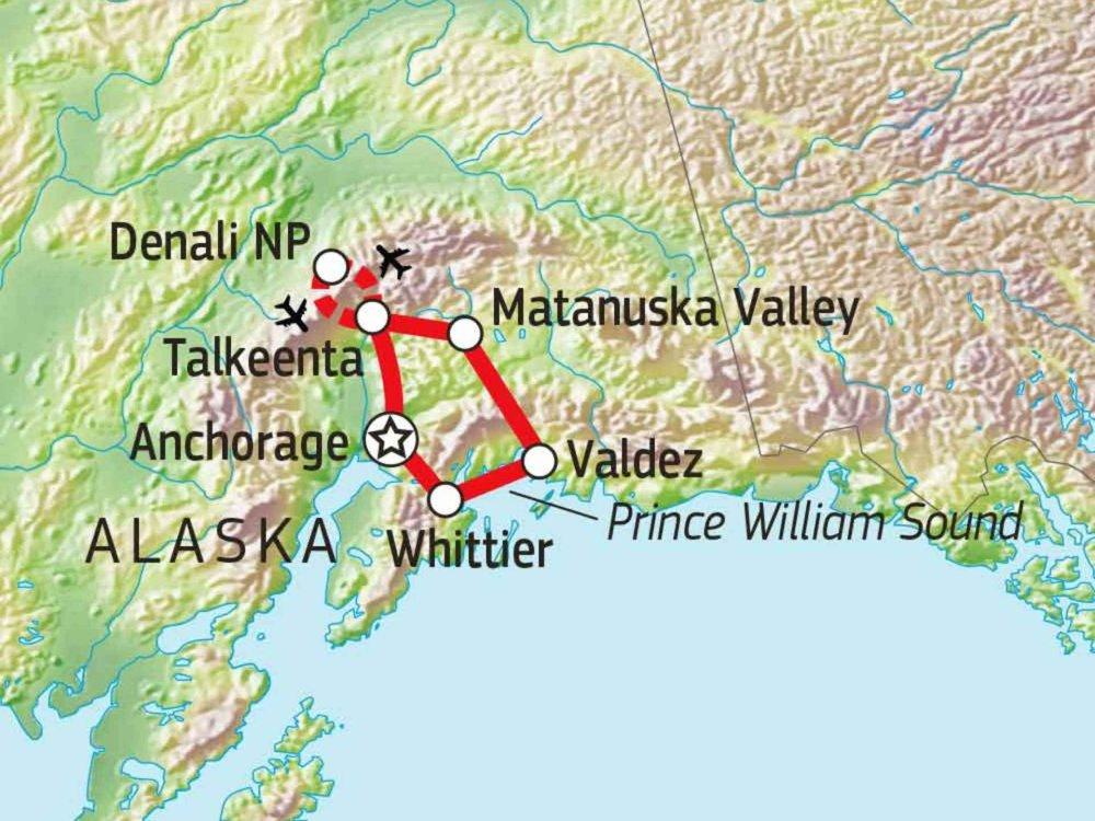 187B10003 Alaska Wildnisabenteuer - Prince William Sound, Chugach & Denali Karte