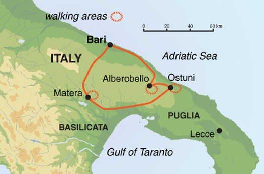 Wandern in Apulien & Matera Karte