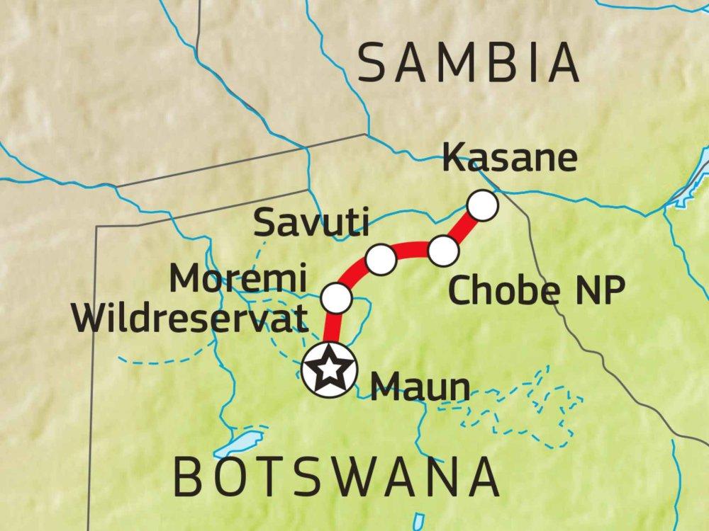 115E10025 Botswana Komfort Camping-Safari (nordwärts) Karte