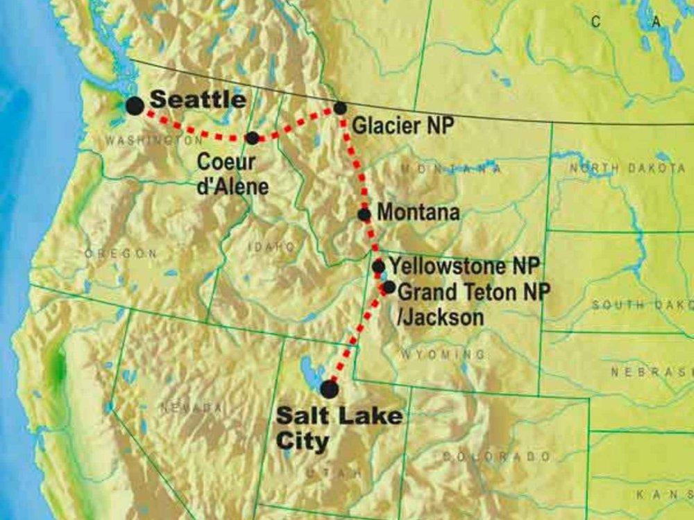 Yellowstone Wildlife Walk Karte