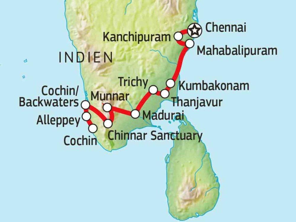 180Y10004 Faszination Südindien Karte