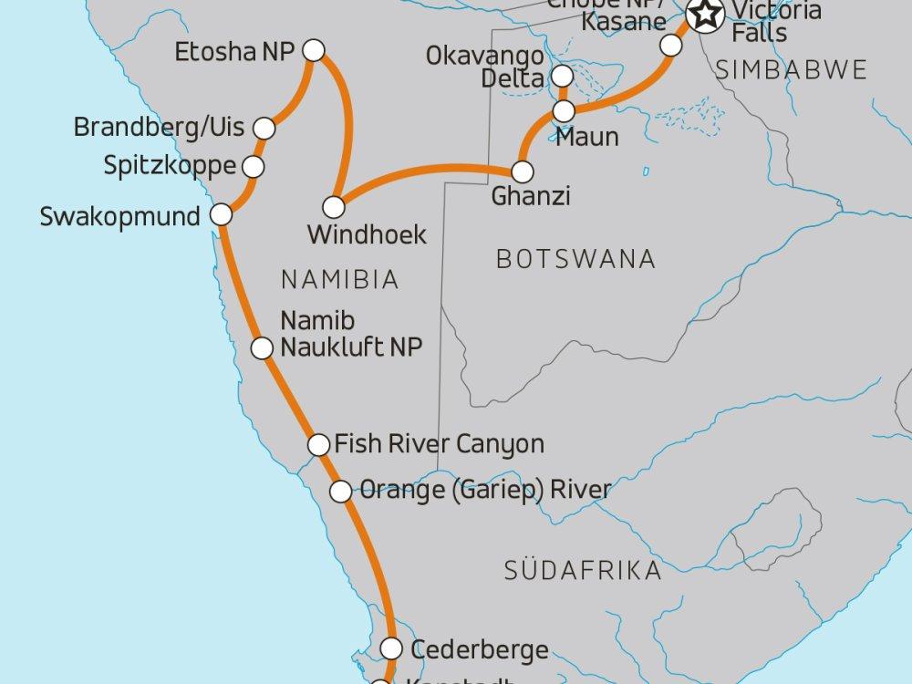 Campingreise Victoria Fälle nach Kapstadt Karte