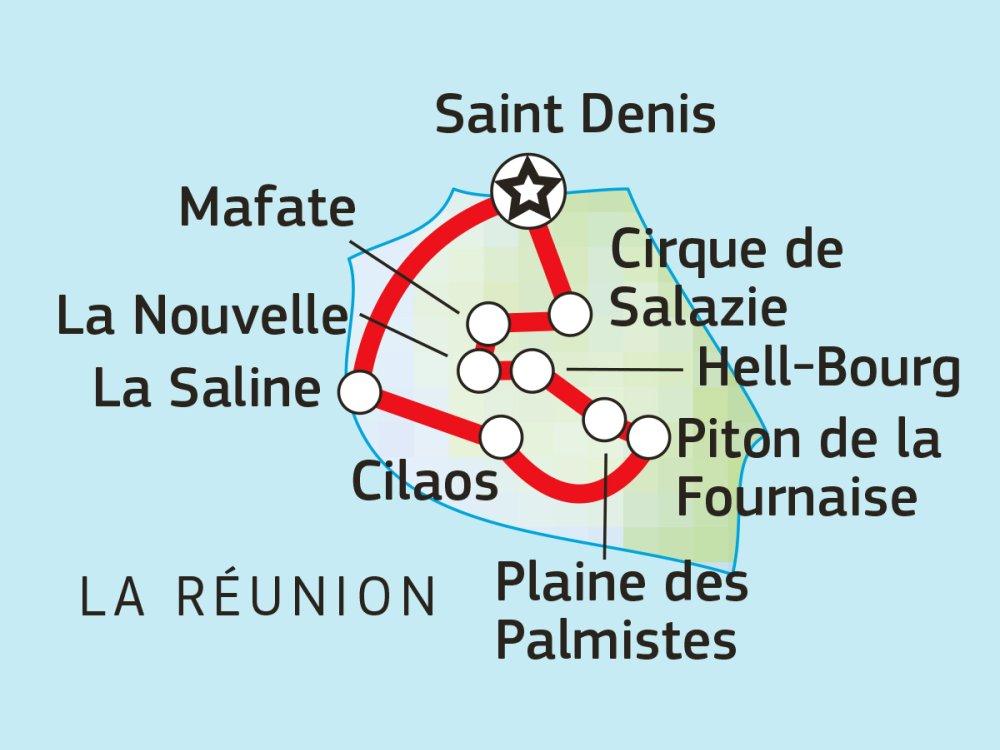 Reunion: Regenwald, Vulkane & Lagunen Karte