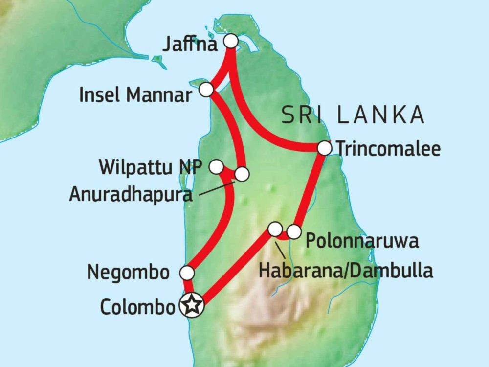 154C21080 Sri Lankas unbekannter Norden Karte