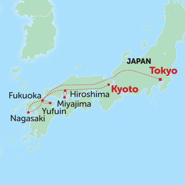 Karte Zeitreise durch Japan