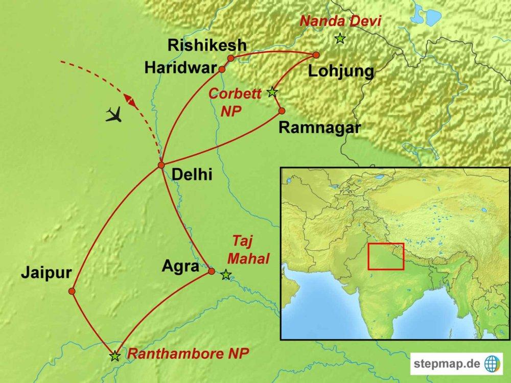 146M51004 Himalaya-Trekking, Rajasthan & Taj Mahal Karte