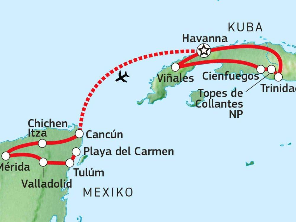 188C22080 Kuba & Mexiko - Karibische Schätze Karte