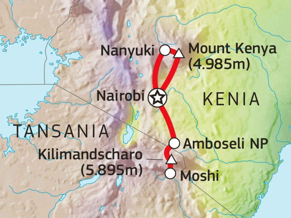 148W51010 Schneeriesen in Ostafrika Karte