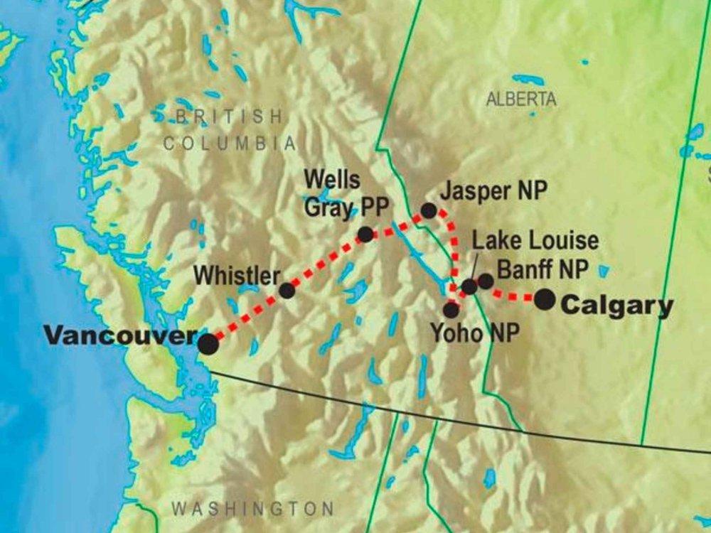 Kanada Entdeckungsreise für Familien Karte