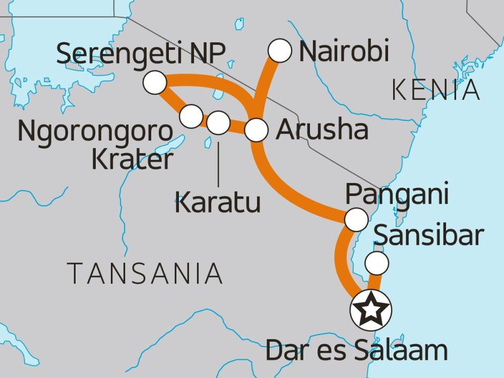 Tansania Abenteuertour Sansibar & Wildreservate Karte
