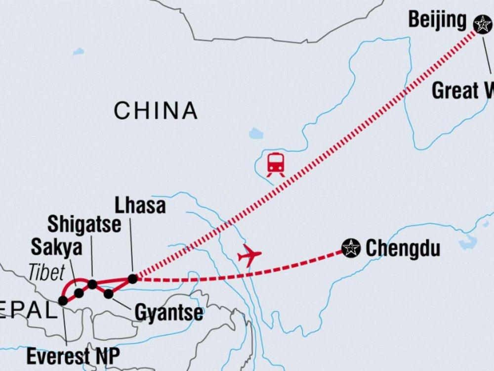 122A31086 Tibets Berge & Klöster Karte