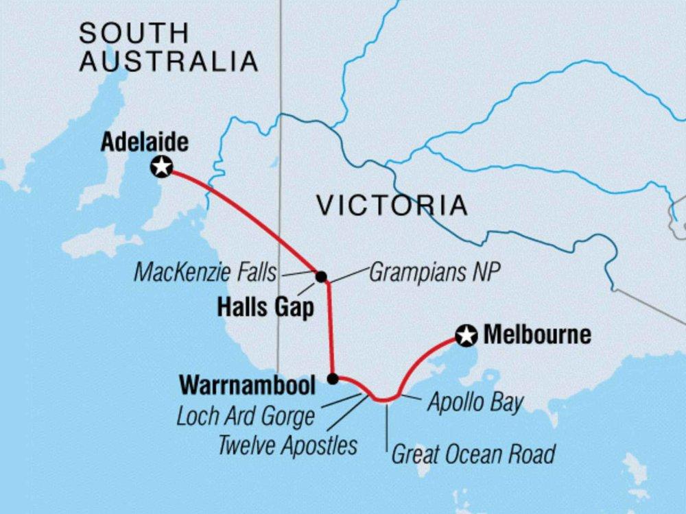 104Y20052 Great Ocean Road - Von Adelaide nach Melbourne Karte