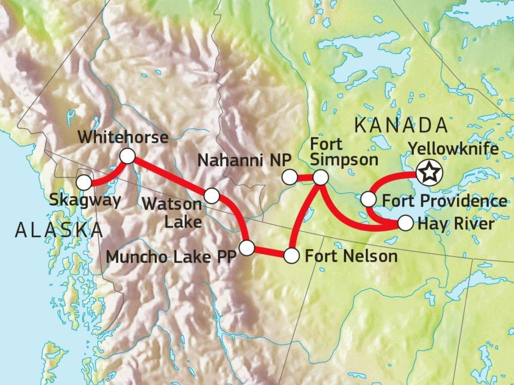 187Y21056 Abenteuerreise Nordwest-Territorien & Yukon Karte