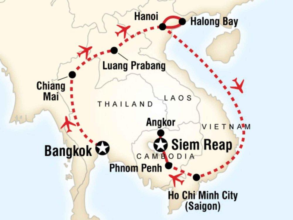 130G35013 Südostasien Erlebnisreise Karte