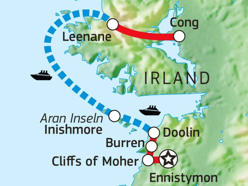 123H10015 Radreise im Westen Irlands Karte