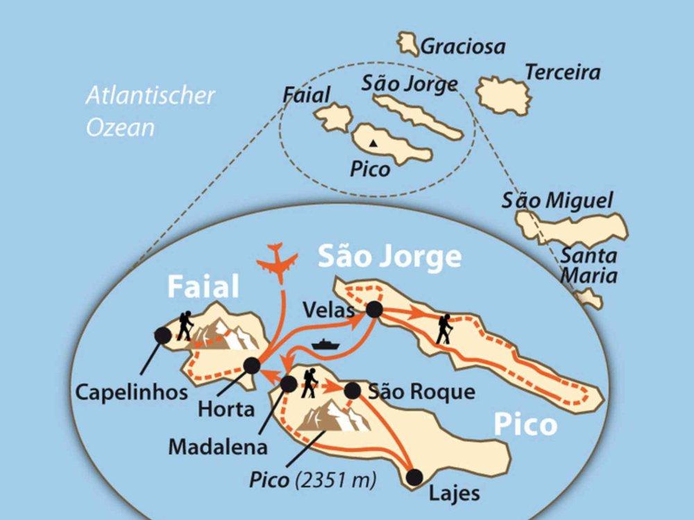Azoren - Wandern, Wale & Vulkane Karte