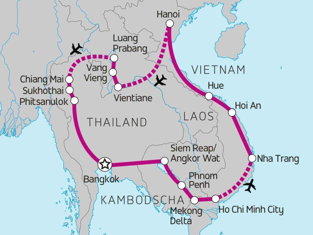 135Y10043 South East Asia Loop Karte