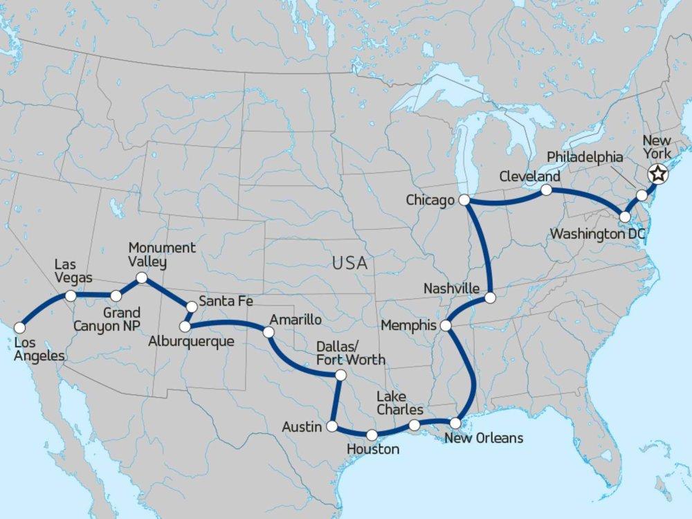 117Y20019 Coast to Coast - Von L.A. nach New York Karte