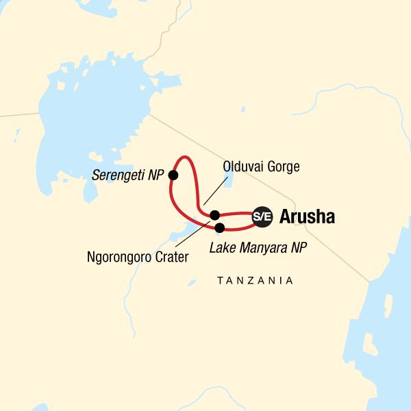 Tansania Safari Rundreise Karte