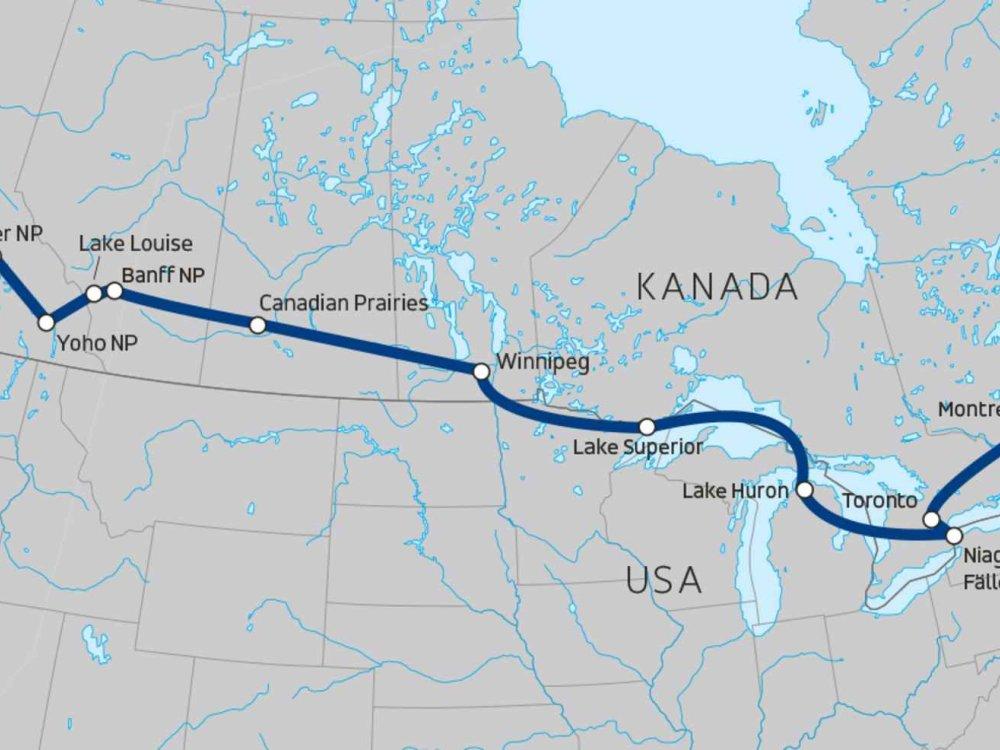 139Y10047 Quer durch Kanada Karte