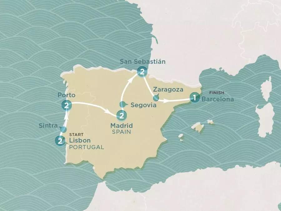 Roadtrip durch Portugal und Spanien Karte