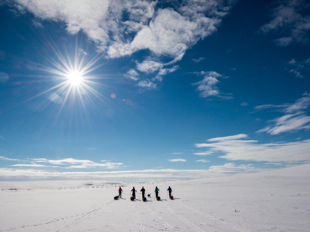 Gruppe einer Ski-Expedition auf dem Finnmark Plateau