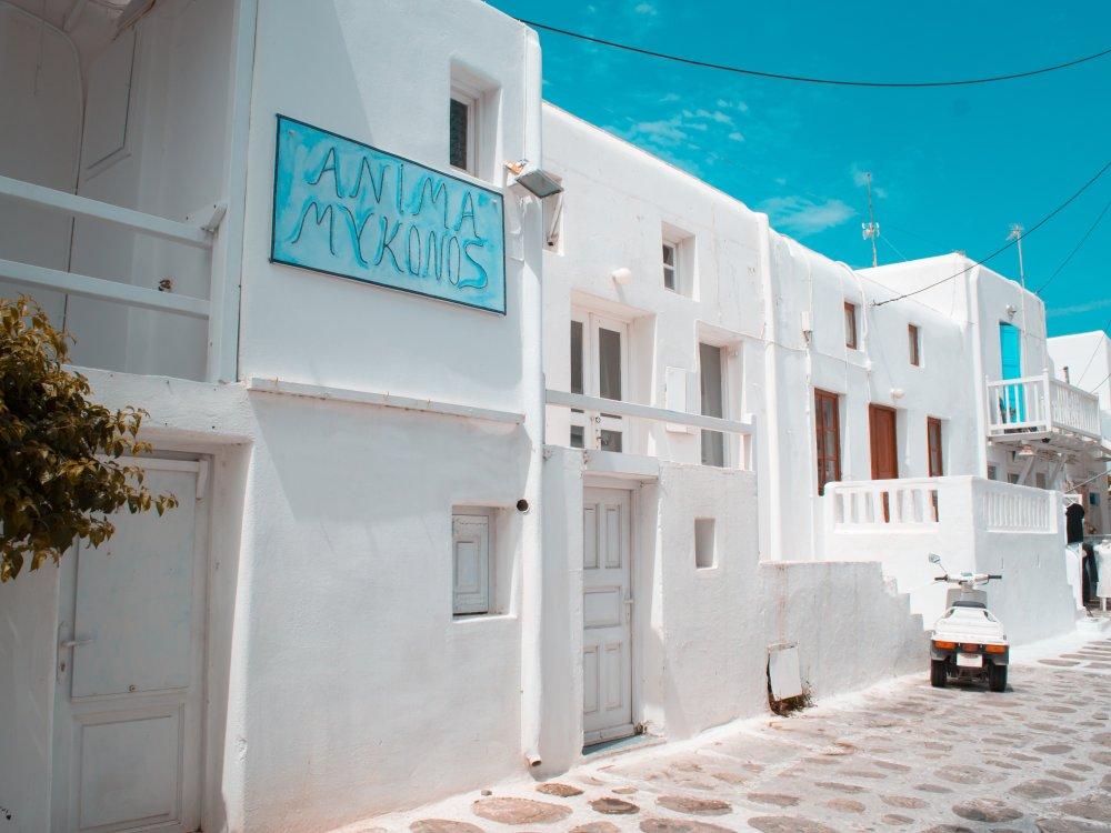Weiße Häuser auf Mykonos