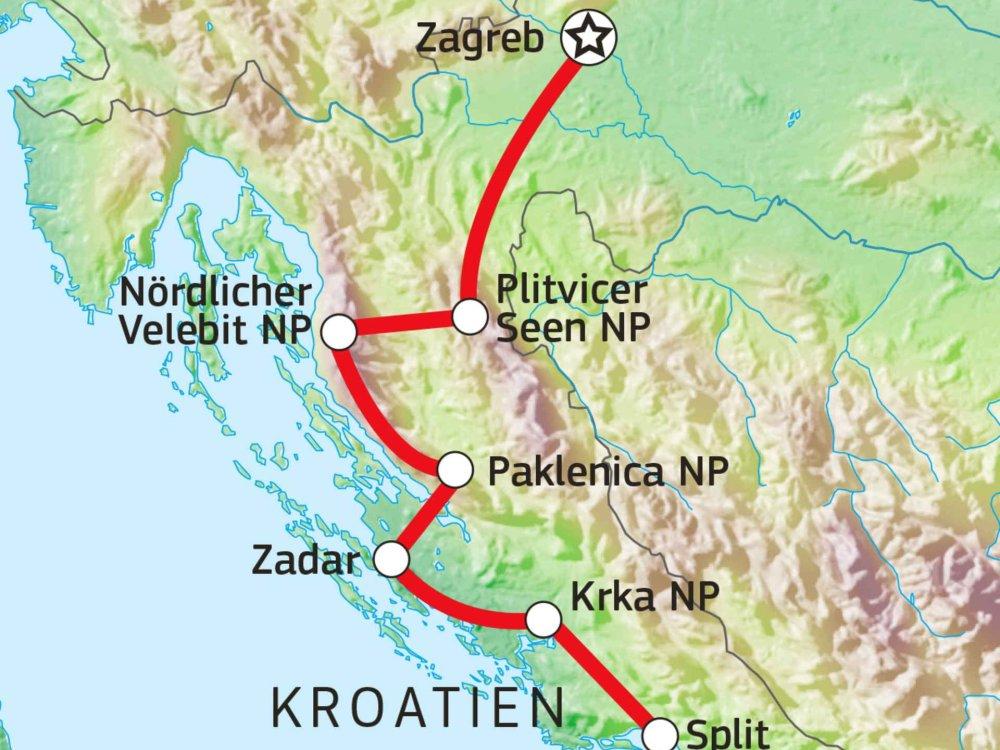 137B50010 Wanderreise Kroatien - Unterwegs zwischen Küste und Gebirge Karte