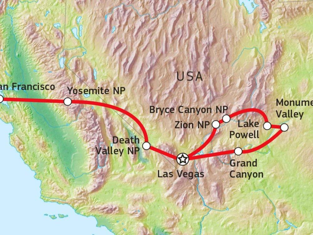 Naturerlebnis in den Nationalparks des Westens Karte