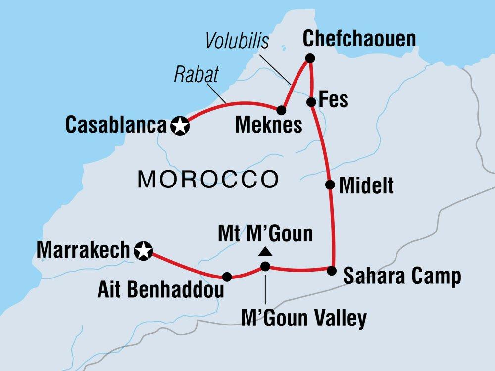 Marokko Rundreise Karte