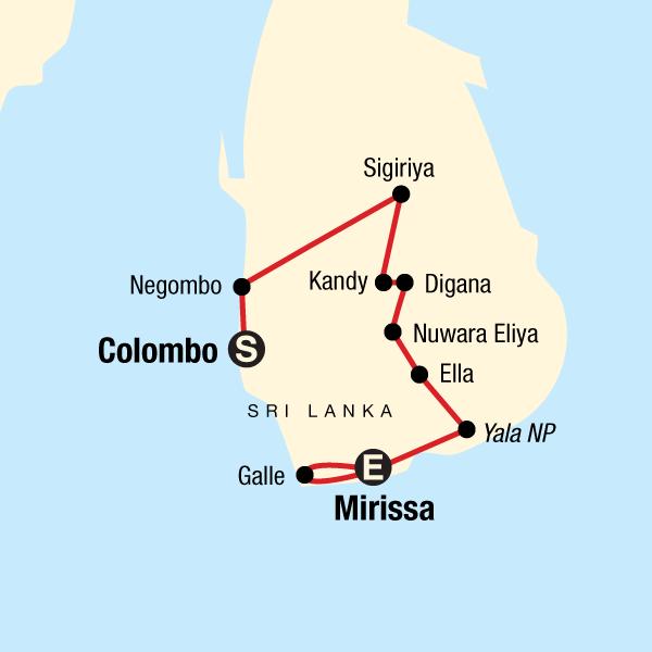 Kulturerlebnis Sri Lanka Karte