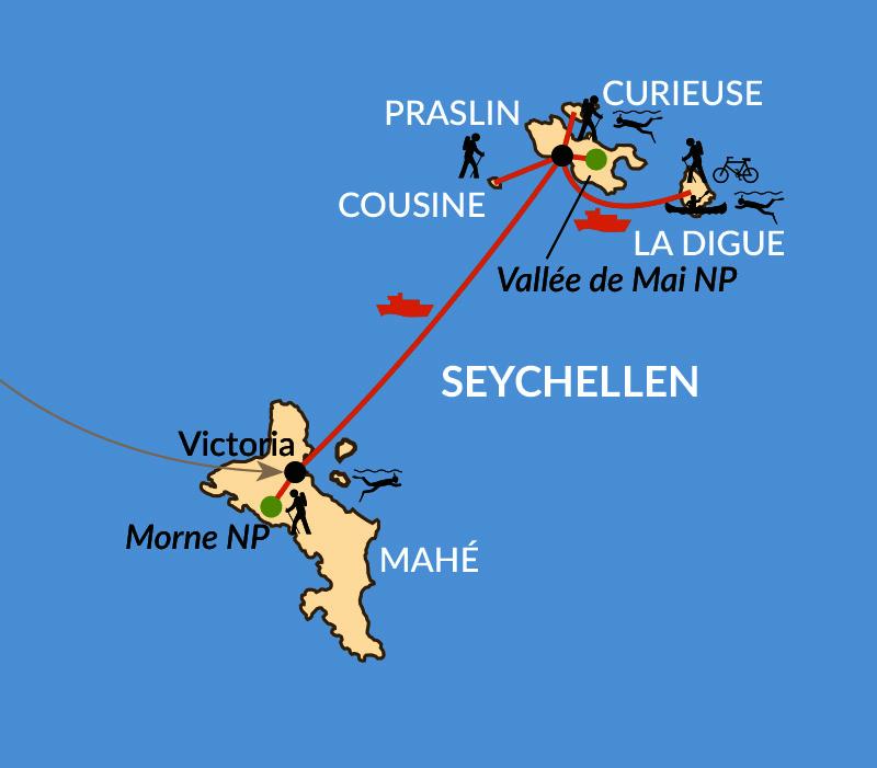 Seychellen Inselhopping Karte