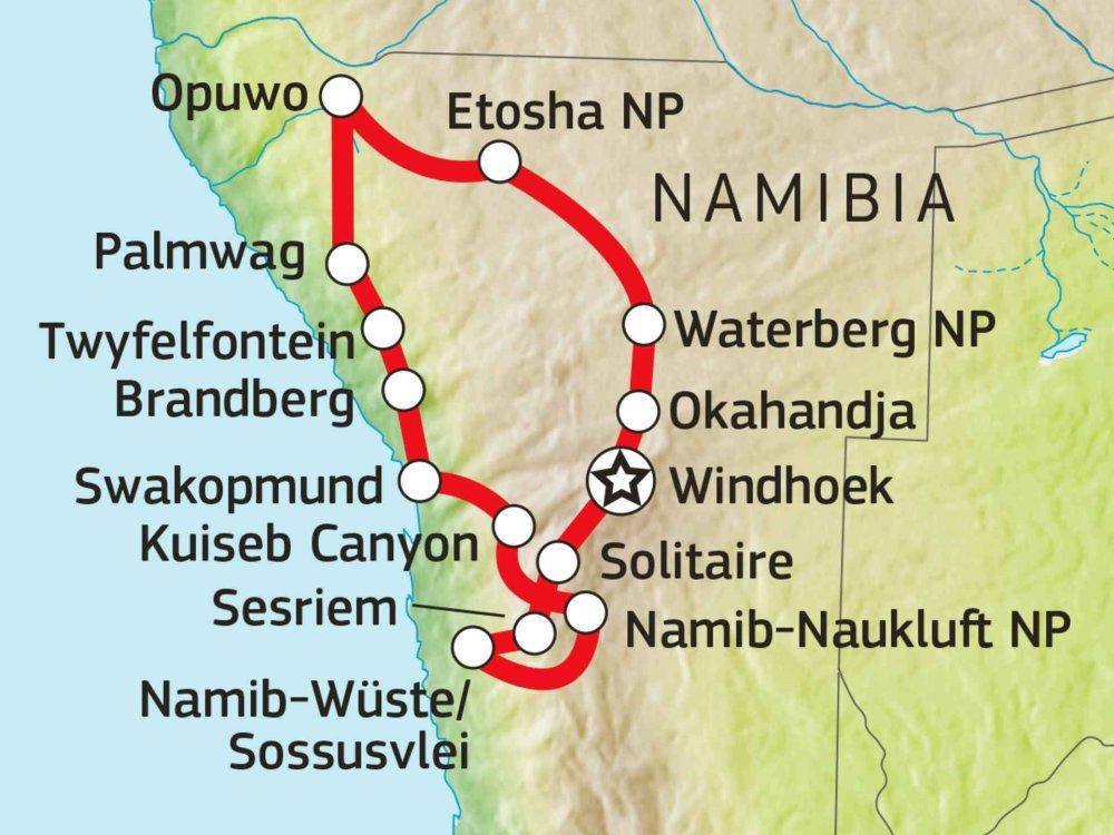 Namibia Erlebnisreise Karte