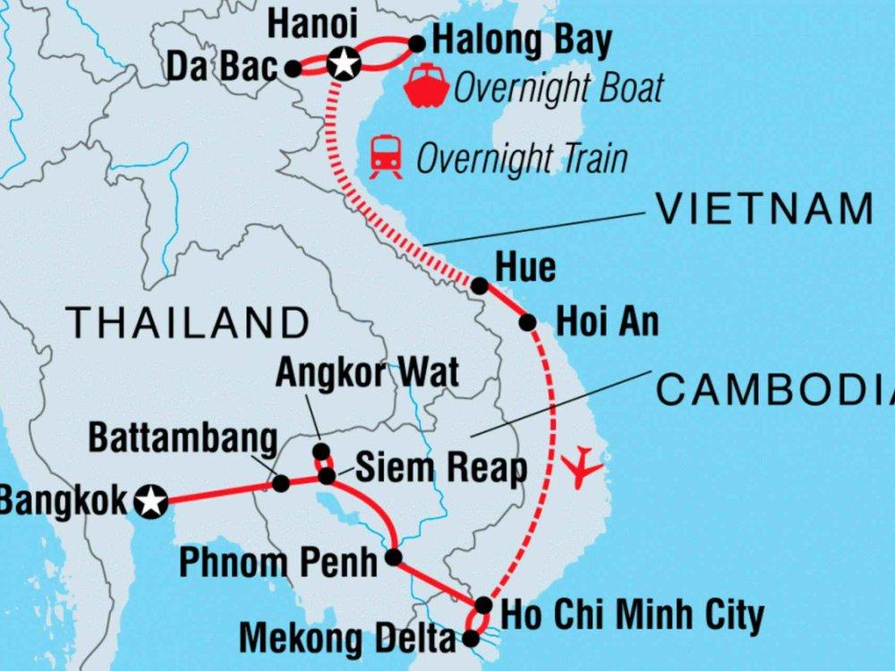 122Y60144 Indochina für Entdecker Karte