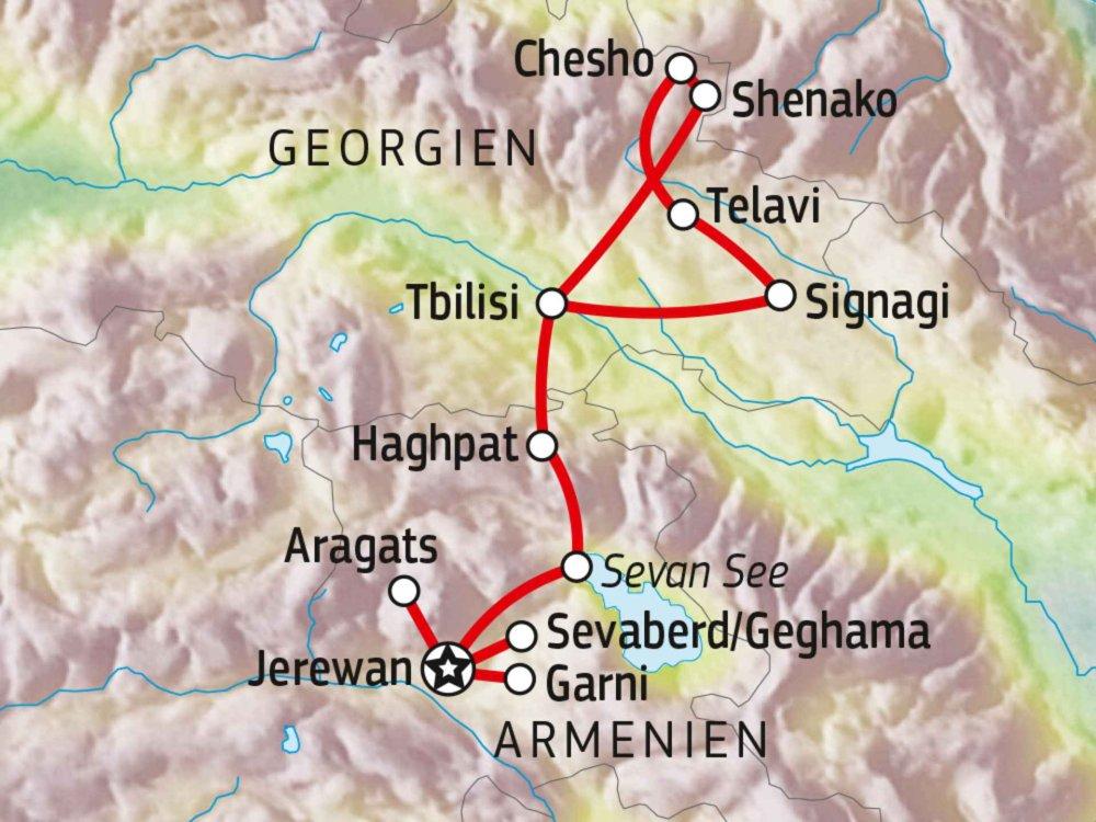 178Y31005 Wanderreise Armenien und Georgien Karte